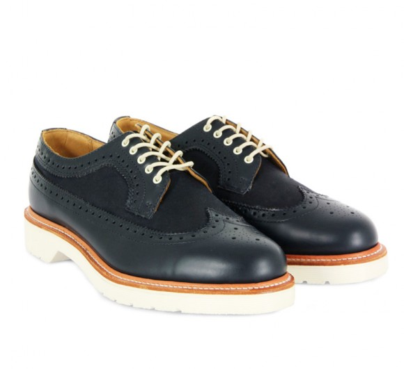Dr. Martens Men's Alfred Navy Brogues with Wax Canvas and Leather Mix