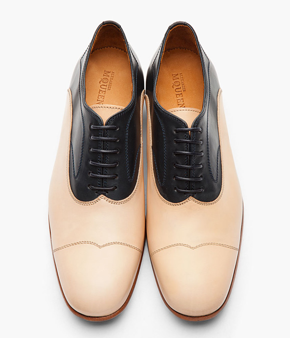Alexander McQueen Nude Beige + Navy Two Tone Oxford Wing Tip/Cap Toe Shoes