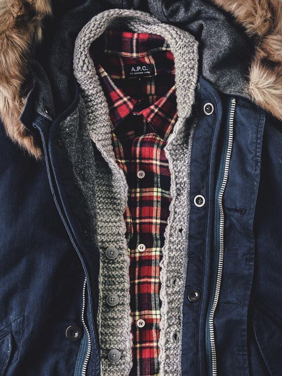 A.P.C. Red Plaid Shirt & Sweatshirt + Navy Fur Trim Coat