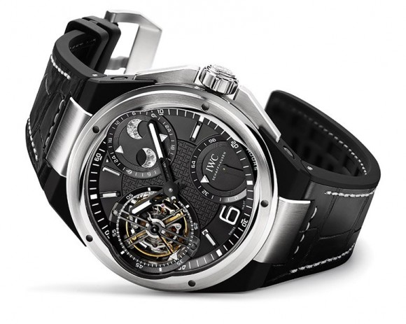Black crocodile leather strap IWC Ingenieur Constant Force Tourbillon luxury watch, expensive item