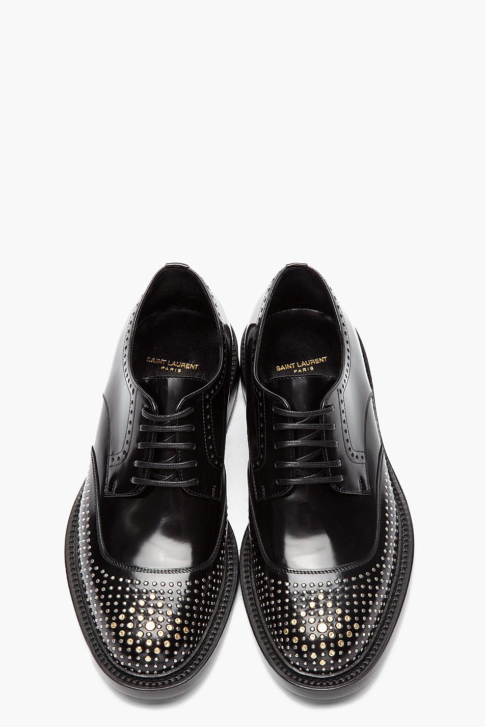 Black Silver Nail Perforated brogues Saint Laurent