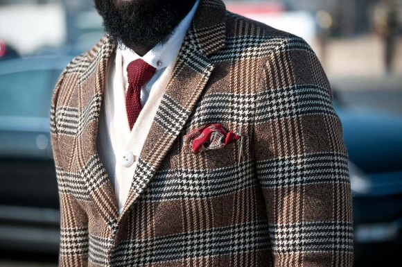 Burnt Red Knitted tie, Red Paisley pocket square, White cardigan, Glen Plaid + Houndstooth mix sport coat