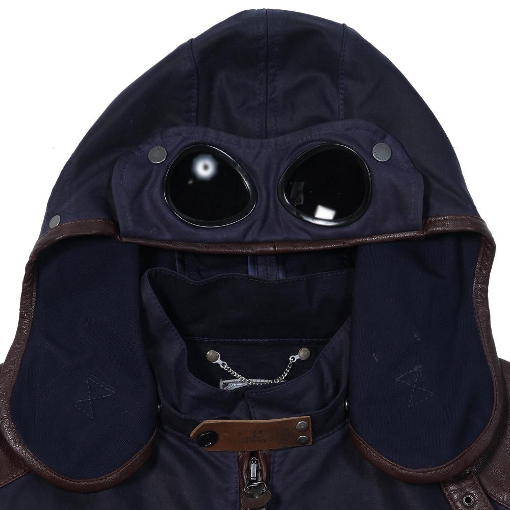Waxed Cotton & Leather Goggle Jacket ($965 USD) from C.P. Company   available here