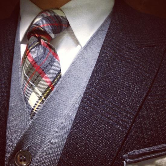 Dapper Wool Plaid Tie, Grey Cardigan Dark Grey Glen Plaid Blazer