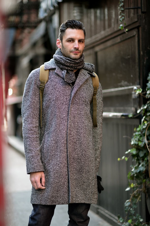 Grey Herringbone Buttonless Coat, Wool Scarf + Leather Backpack