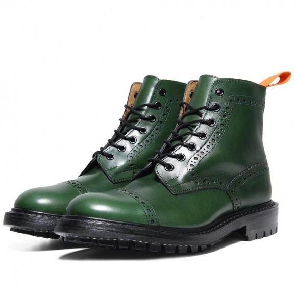 Junya Watanabe MAN Tricker's Super Boot Green Cap Toe Commando Sole Brogue