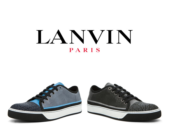 LANVIN Snakeskin Patchwork low trainers in blue multi & grey multi