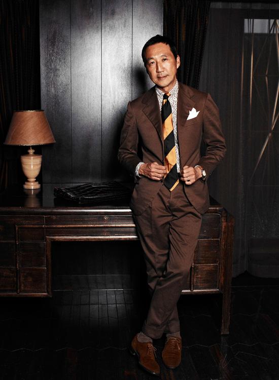 Leopard Print Shirt Underneath Brown Suit - Gitman Brothers