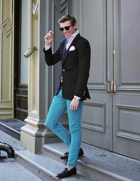 Light blue jeans, black tassel loafers, dark blazer, white shirt white pocket square
