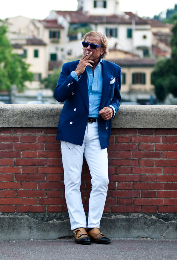 Lino Ieluzzi Blue Blazer, Blue Shirt + White Pants - Summer Look Double Monk Strap Shoes