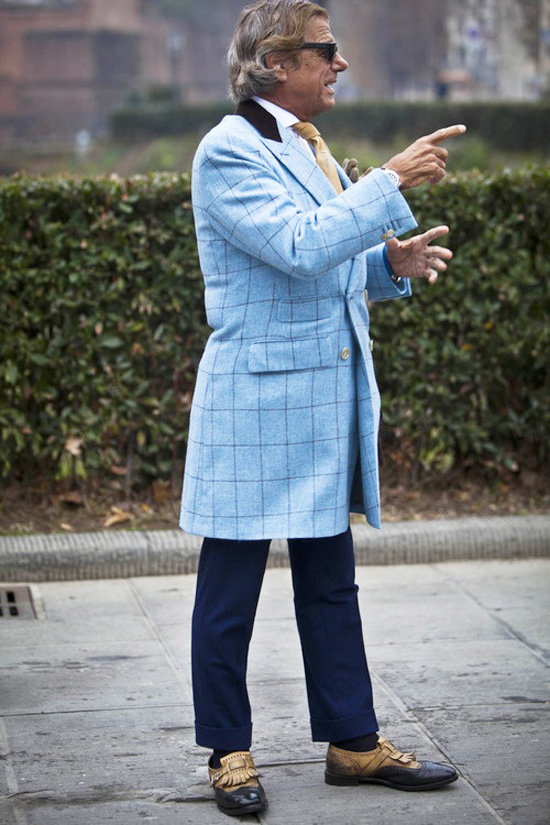 Lino Ieluzzi Light Blue Windowpane Coat, Two-Toned Tasseled Wing Tips