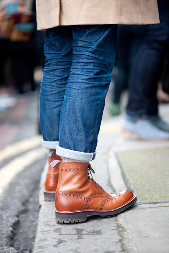 London Street Fashion, Blue Jeans + Cuffed High Tan Brogue Boots & Lug Sole in Black