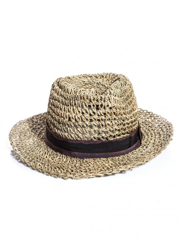 Straw Boater Hat LANVIN; loose weave