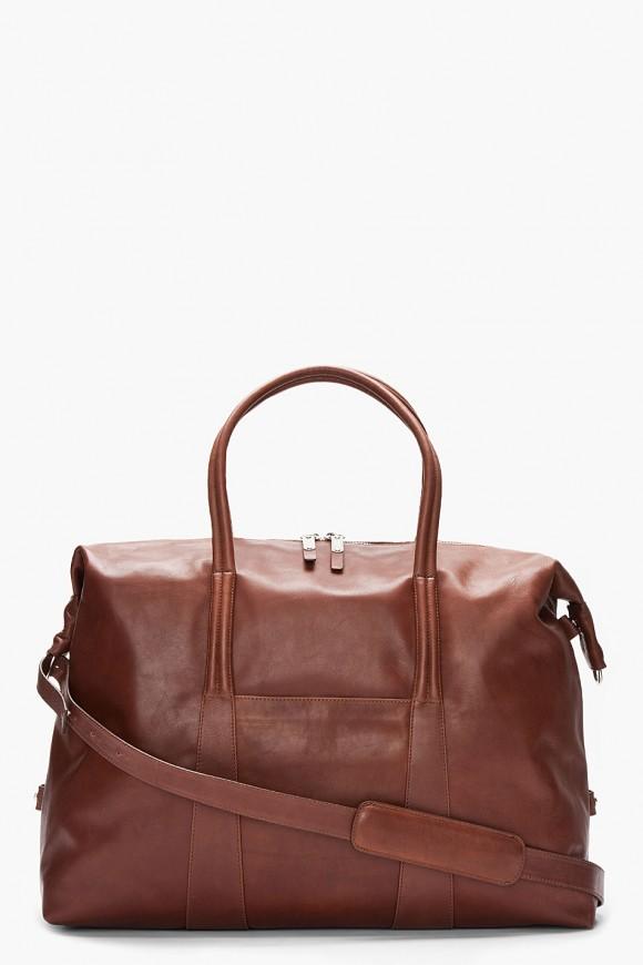 Maison Martin Margiela Brown Leather Travel Duffel Bag Calfskin