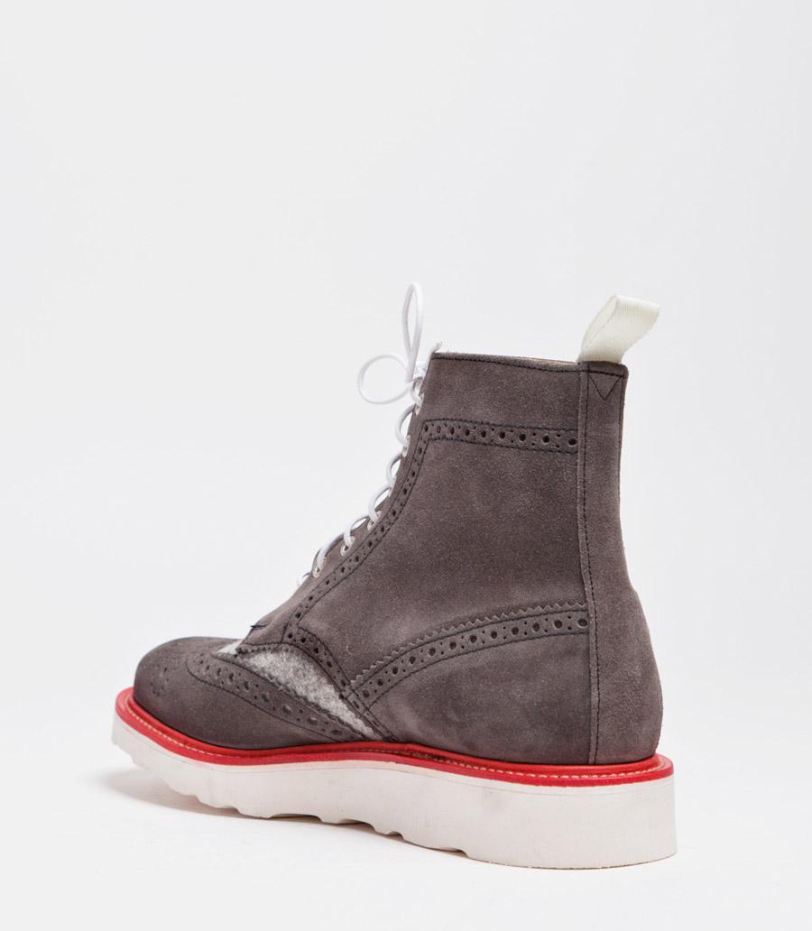 Mens Suede Wingtip Boots Wool Suede Wingtip Boot