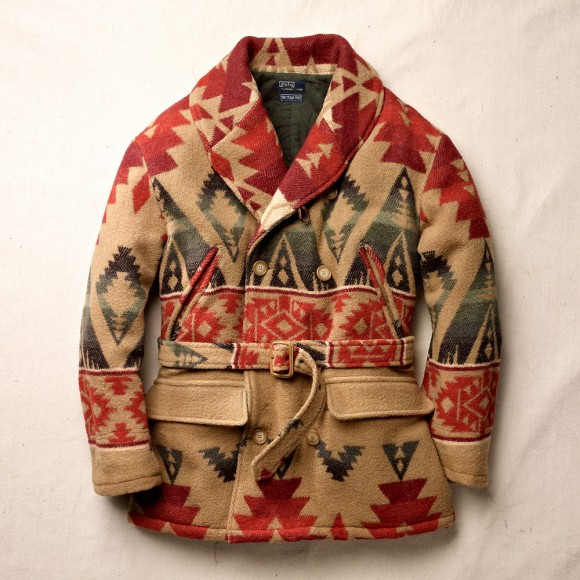 Native Print Double Breasted Shawl Lapel Pea Coat from Ralph Lauren