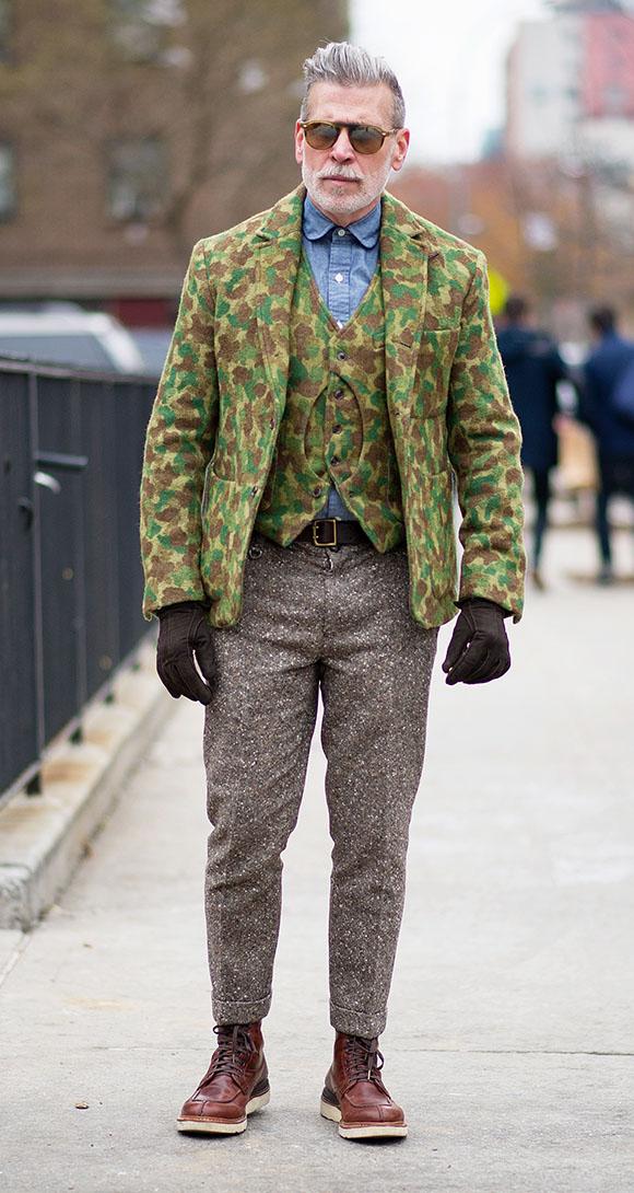 Nick Wooster denim shirt camo vest camo blazer, grey tweed pants and visvim boots