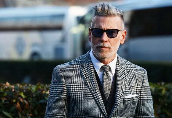 Nick Wooster Wayfarer, herringbone tie, houndstooth glen plaid suit jacket mix