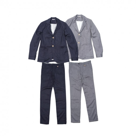 Oliver Spencer Oxford Suit Linen Cotton Wool Combo Grey/Navy
