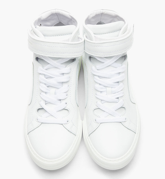 Pierre Hardy White Leather High-Top 101 Sneakers, Designer