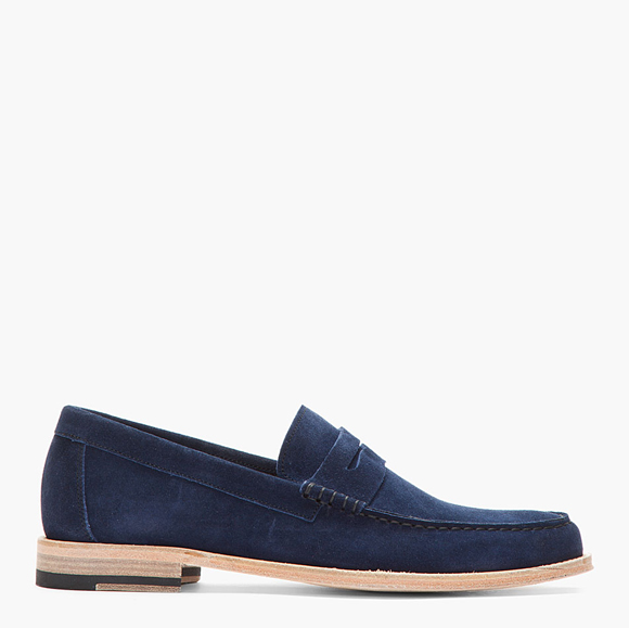 PS by Paul Smith Navy Suede Amalfi Nappato Penny Loafers 1