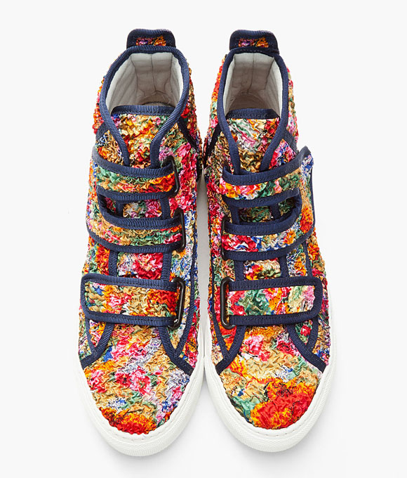 Raf Simons Multicolor Textured Floral Velcro Sneakers