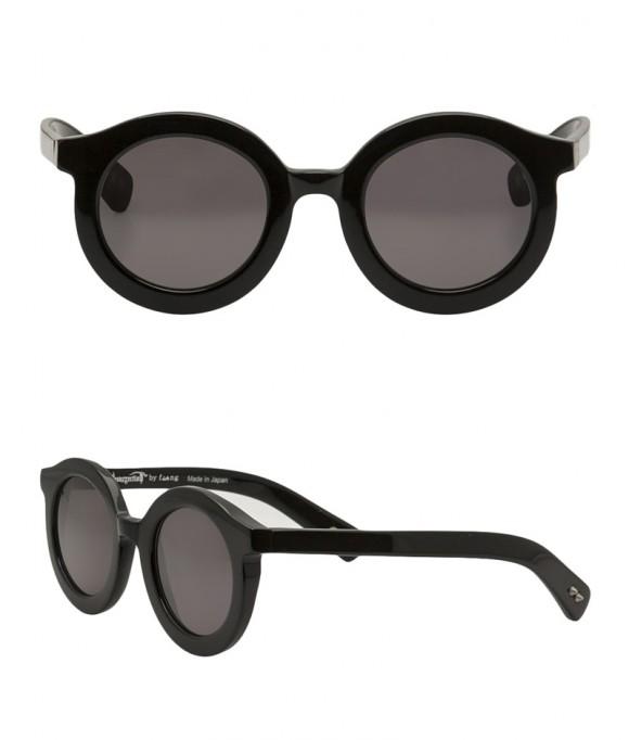 Thick Black Round Frame Sunglasses | SOLETOPIA