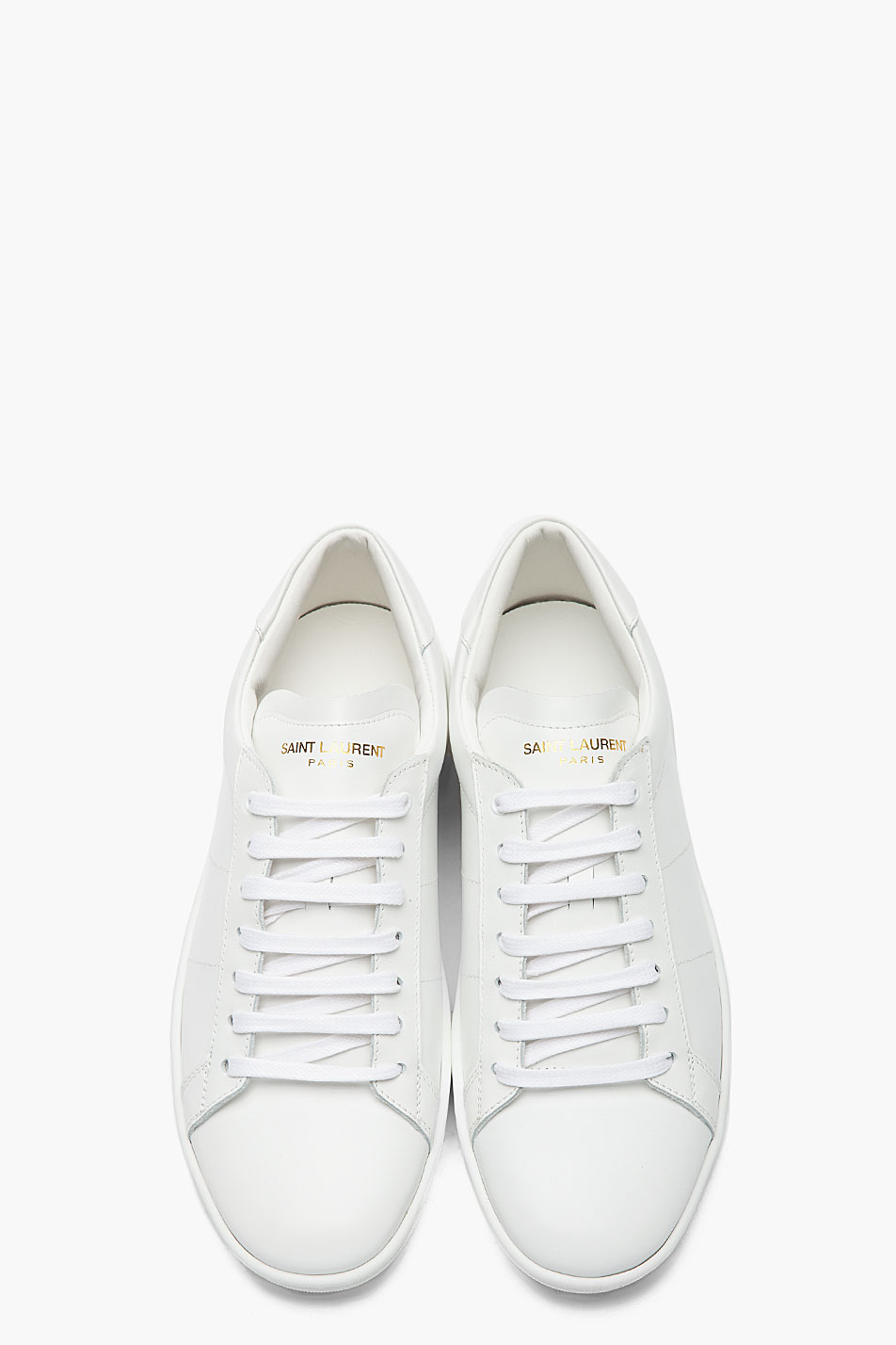 Saint Laurent White Leather Low Top Sneakers - Clean