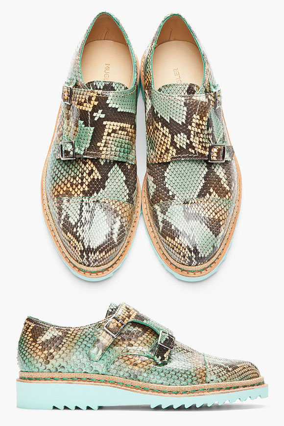 Thierry Mugler Mint Python Double Monk Cap Toe Ripple White Sole Shoes