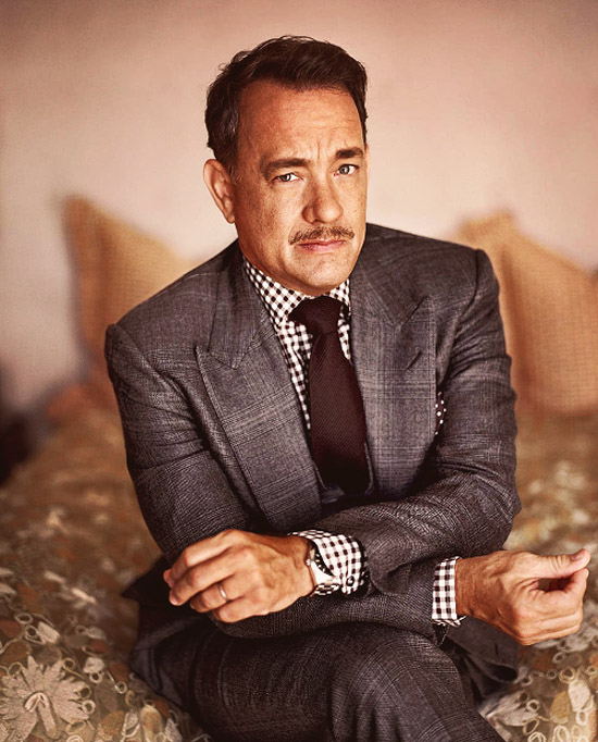 Tom Hanks Menswear Style, Peaked lapels checked shirt + moustache