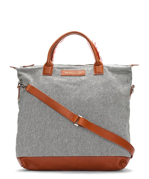 Black & White micro check canvas shopping tote bag for men