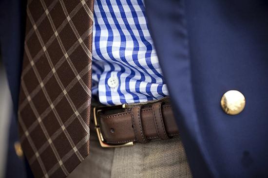 Blue Check Plaid Shirt + Belt Buckle