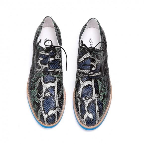Blue Faux Python Wing Tip Brogue Blue Sole Del Toro Shoes