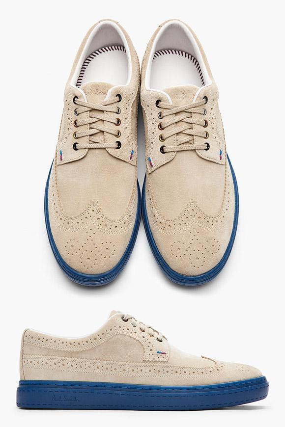 Blue Sole Beige Suede Wing Tip Designer Sneakers