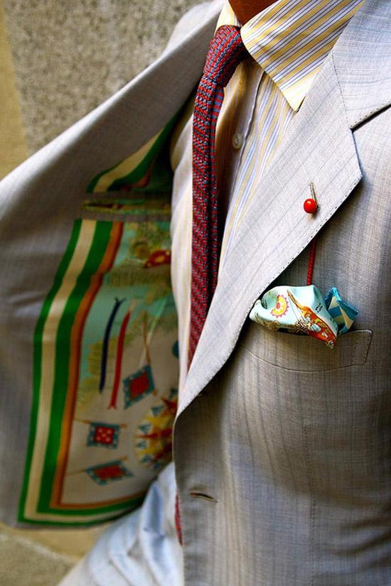 Boutonnière Cherry Lapel Accessory Paisley White Pocket Square Knit Red Tie Grey suit