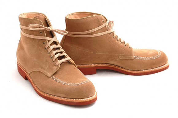 Brick Sole Moccasin Toe Tan Suede Boots, Loop Laced for Casual Style