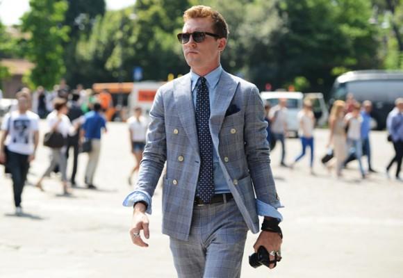 Casual Unbuttoned Blanket Plaid Double Breasted Suit + Peak Lapel