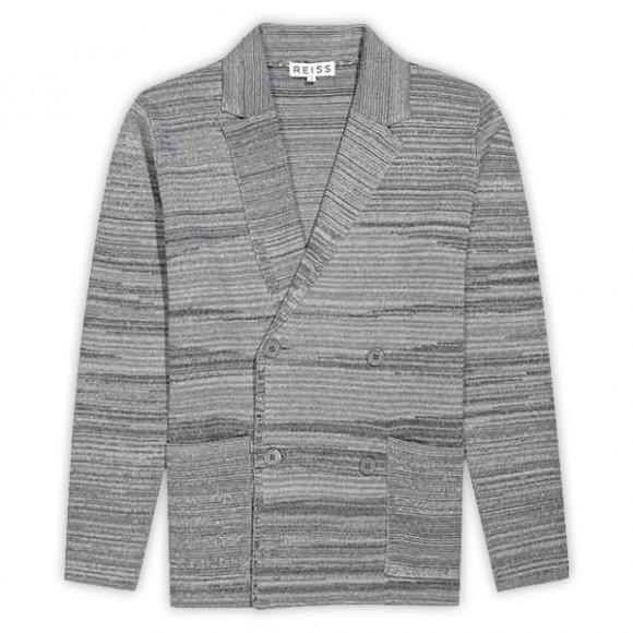 Double Breasted Notch Lapel Cardigan Melange Grey Stripe