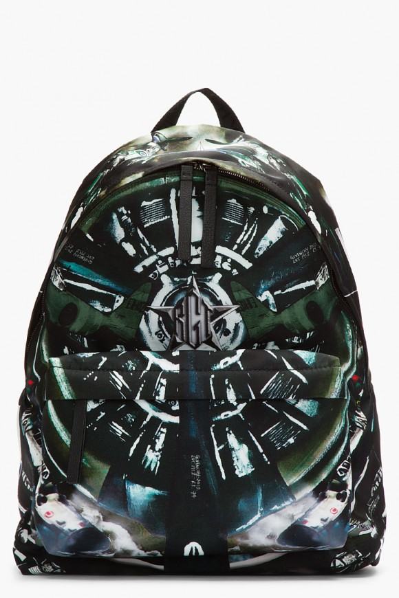 Givenchy Nylon Leather Trimmed Aeroplane Print Backpack