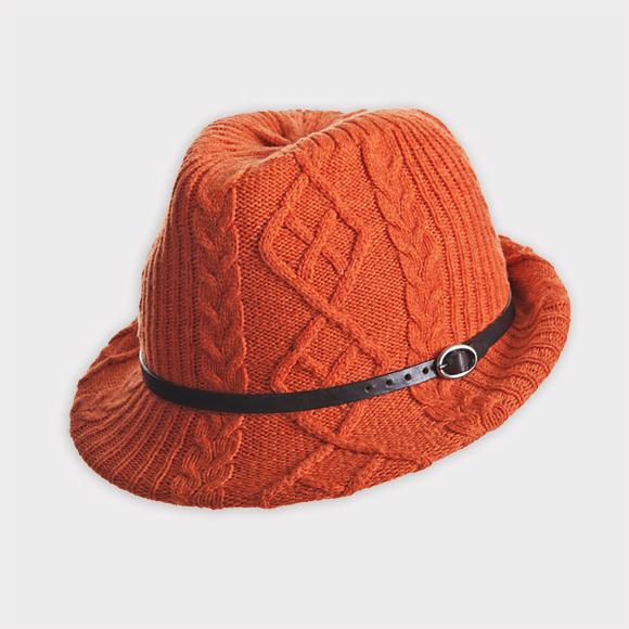 Inverni Orange Knitted Fedora Menswear 1c642b5c681
