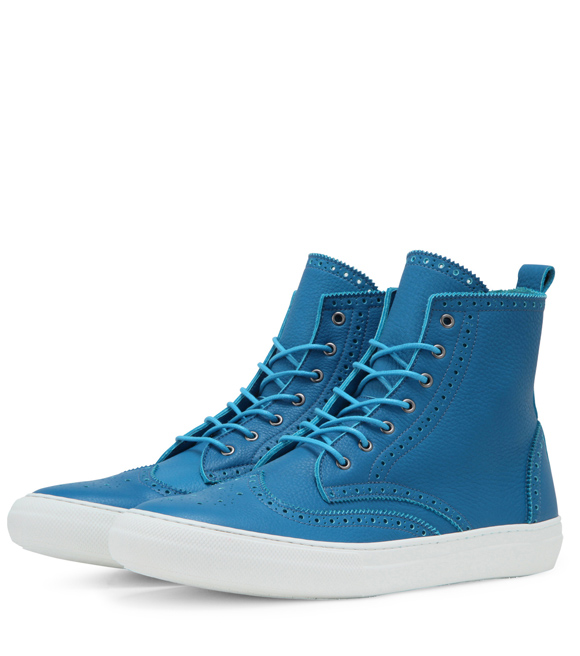 Light Blue Calf Leather Wing Tip Sneakers