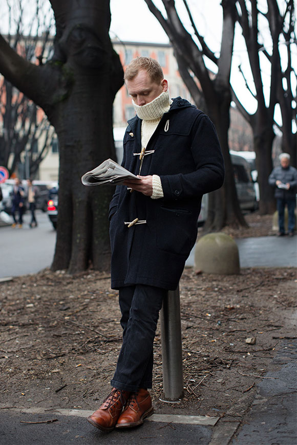 Looking Cool While Reading the Paper Navy Toggle Coat Brown Boots
