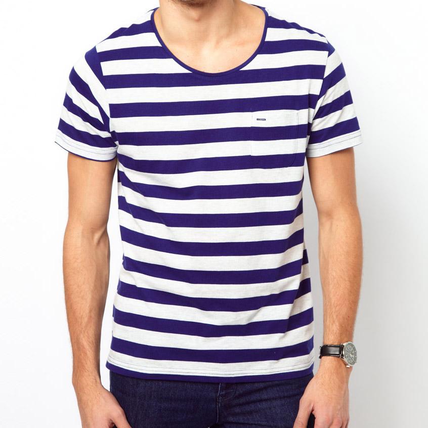 nautical blue stripe wide crew neck t shirt soletopia