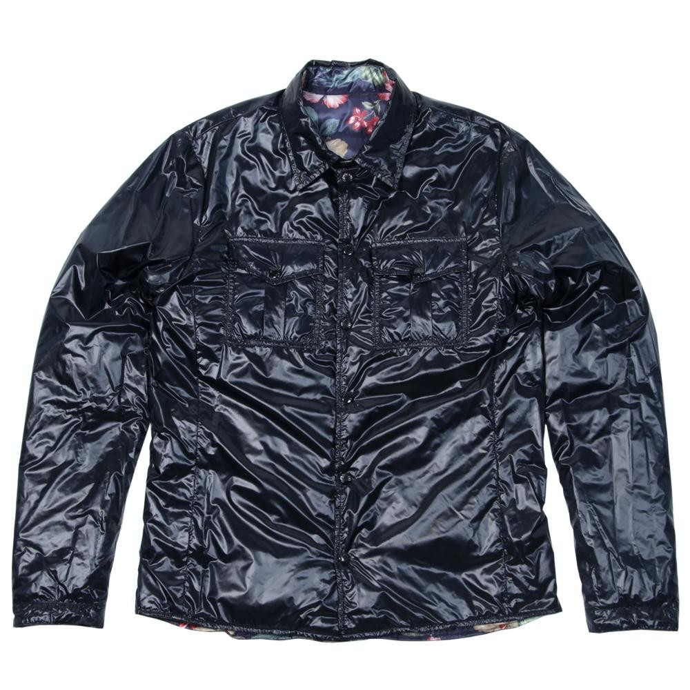 Reversible Floral Print/Shiny Blue Nylon Lightweight Jacket