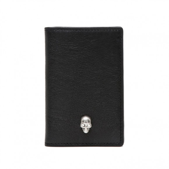 Silver Skull Black Leather Pocket Organizer