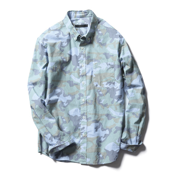 SOPHNET. Faded Camouflage Over Print Button Down Dress Shirt