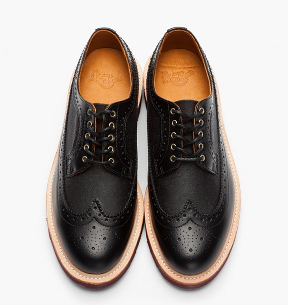 The Alfred Longwing Canvas/Leather Mix Brogues from Dr. Martens