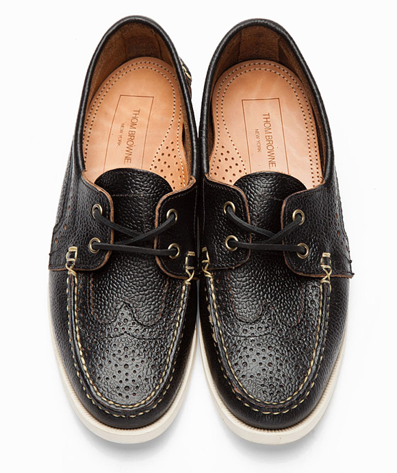 Thom Browne Black Pebbled Wingtip Shoe