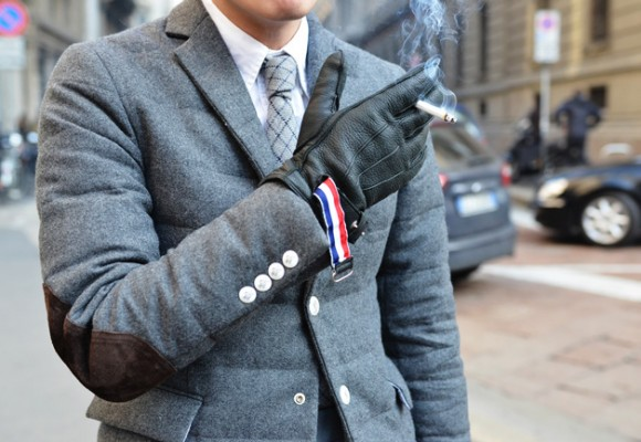 White Buttons Grey Patted Coat & Smoking With Gloves