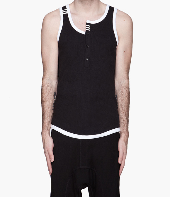 Y-3 Asymmetric Collar Tank Top for Men Black